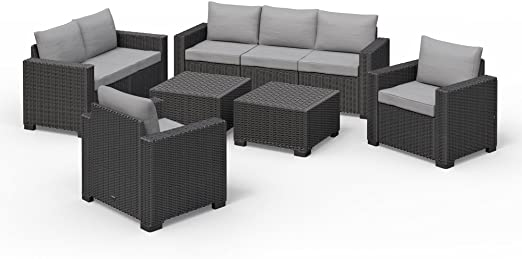 Allibert California Lounge Set Muebles de Jardín Ratán. Asiento Grupo 6 piezas): Amazon.es: Jardín