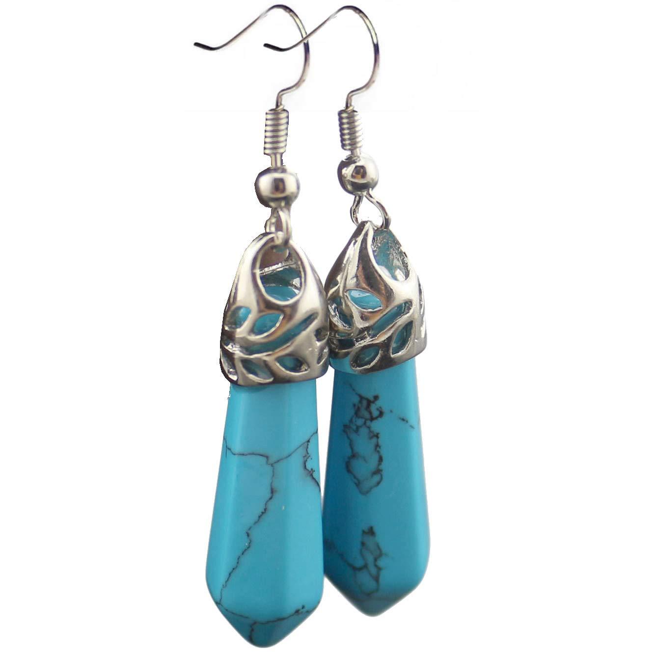Natural Gemstone Earrings Bullet Healing Point Crystal 7 Chakra Dangle Earrings Xmas Gift
