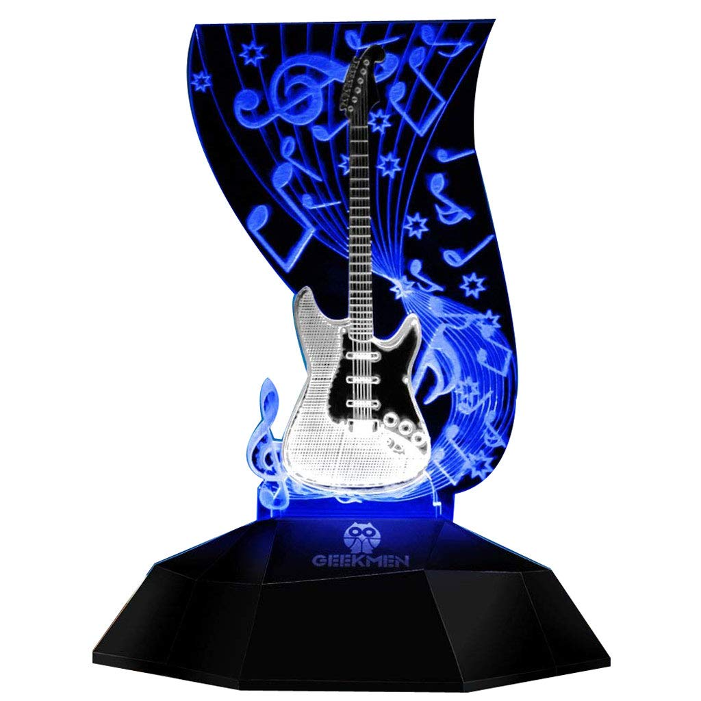 Novelty Lamp, Music Note Indoor Lighting, Touch Switch Illusion Optical Table Lamp Art Music Instrument Guitar 3D Line Lamp LED Decorative Night Light Guitarist Music Room Decor Unique Gift Idea for M