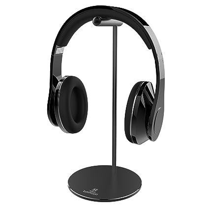 Lamicall Soporte para Auriculares : Universal Soporte para Auriculares Gaming con Barra de Soporte Cilíndrica de Aluminio y Base Sólida Redonda para Todos ...