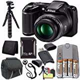 Nikon COOLPIX L340 Digital Camera (Black) – International Version (No Warranty) + 4 AA Pack NiMH Rechargeable Batteries and Charger + 64GB SDXC Card Saver Bundle For Sale