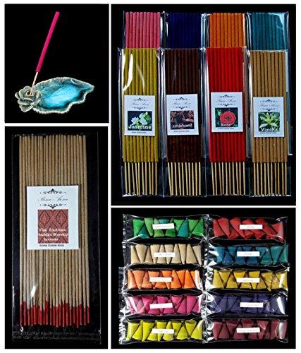 Prima Aroma set 265, 19 scented, Thai tradition temple incense 20 sticks, 8 packs of 10 smokeless fragrance incense tube, 10 packs of 10 aroma Incense cones & handmade ceramic Incense burner holder