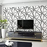 UBEN Wallpaper Modern Minimalist Geometric Pattern Non-Woven Wallpaper Nordic 3D Stereo TV Background Wall (Beige)