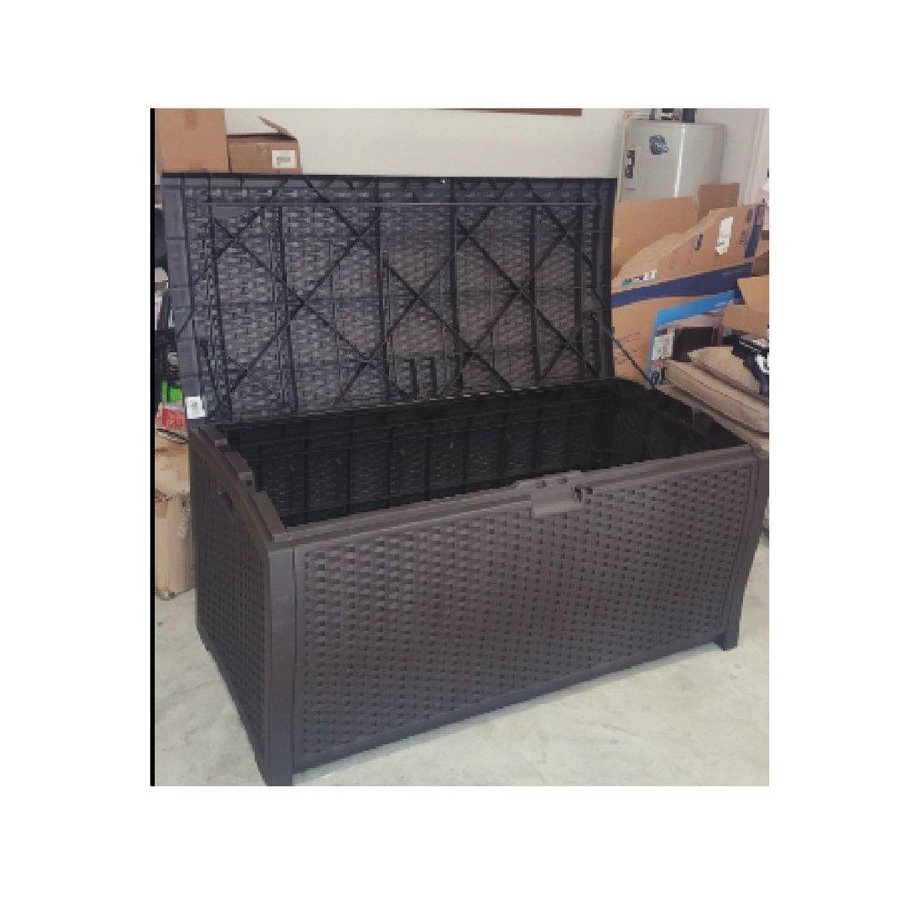 Outdoor Wicker Storage Box Patio Furniture Large Garage Kitchen Big Deck Resin Basket Lock Bench Container & eBook by OISTRIA