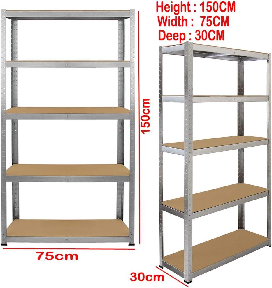 Warehouses Room Heavy Duty Metal 5 Tier 150cm x 75cm x 30cm Boltless Shelving Racking Storage Shelf Rack Shelve Galvanize For Garages Workshops