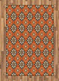 Arabian Area Rug by Lunarable, Arabesque Islamic Geometric Oriental Ethnic Patterns and Motifs with Vintage Artful, Flat Woven Accent Rug for Living Room Bedroom Dining Room, 4 x 6 FT, Multicolor