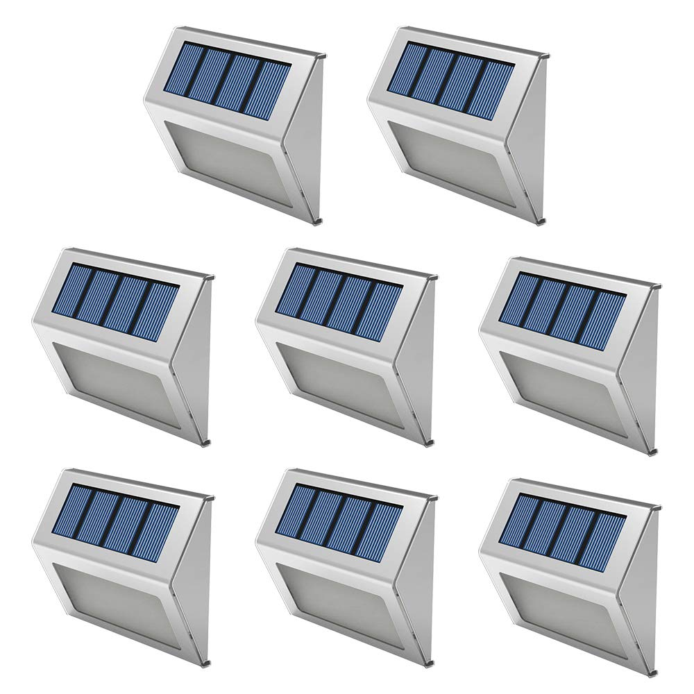 OSORD Solar Lights Outdoor Upgraded, Waterproof 6 LED Solar Deck Step Lights Wall Mount Decorative Decks Lighting Dark Sensing Auto On/Off for Steps Yard Porch Stairs Fence Pathway, Pack of 8