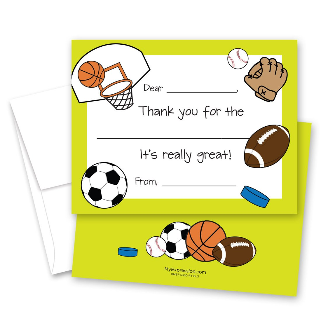20 Sports Theme Kids Fill in Birthday Thank You Cards green