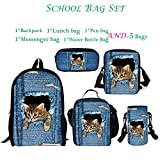 ThiKin 5 School Bags Set Cute Cat Backpack Lunch Bag Messenger Bag Pen Bag Water Bottle Carrier for Kids