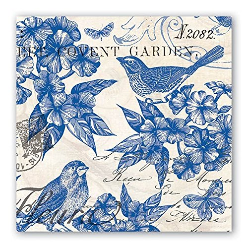 Michel Design Works 20 Count 3-Ply Paper Luncheon Napkins, Indigo Cotton