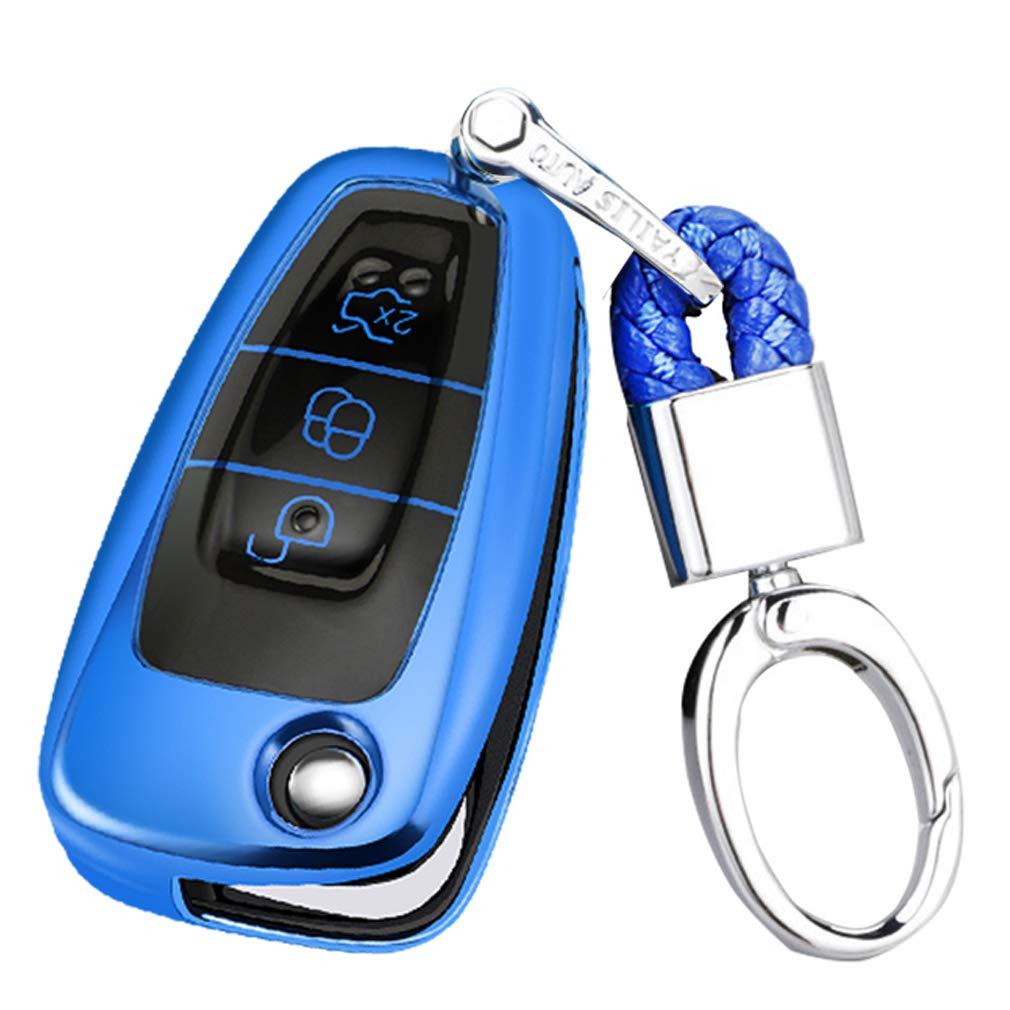 Key Protection Shell Auto Schl/üssel H/ülle Key Cover Case Etui Silikon mit Schl/üsselanh/änger F/ür Ford Focus 4 3 2 Mondeo MK3 MK4 Kuga Fiesta EcoSport 3 Button Rosa