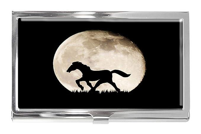 Silhouette Horse On Full Moon - Tarjetero (Acero Inoxidable ...
