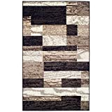 Superior Modern Rockwood Collection Area Rug, Modern Area Rug, 8 mm Pile, Geometric Design with Jute Backing, Chocolate, 8' x 10'