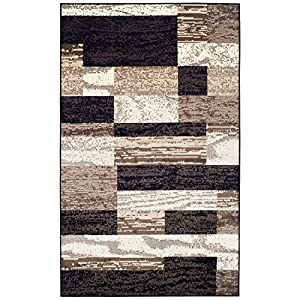 SUPERIOR Modern Rockwood Collection Area Rug, Modern Area Rug, 8 mm Pile, Geometric Design with Jute Backing, Chocolate…