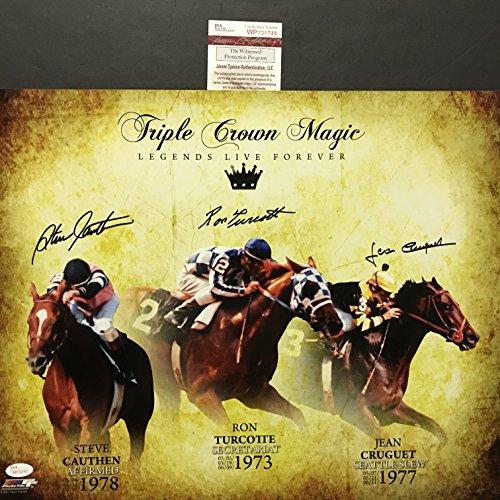 Autographed Triple Crown - Autographed/Signed Triple Crown Winners Jean Cruguet, Ron Turcotte & Steve Cauthen 16x20 Horse Racing Photo JSA COA