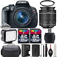 Canon EOS Rebel T5i DSLR 18MP Full HD 1080p Camera + Canon 18-55mm IS STM Lens + 64GB Storage + LED Kit + Case + UV Filter + Card Reader - International Version