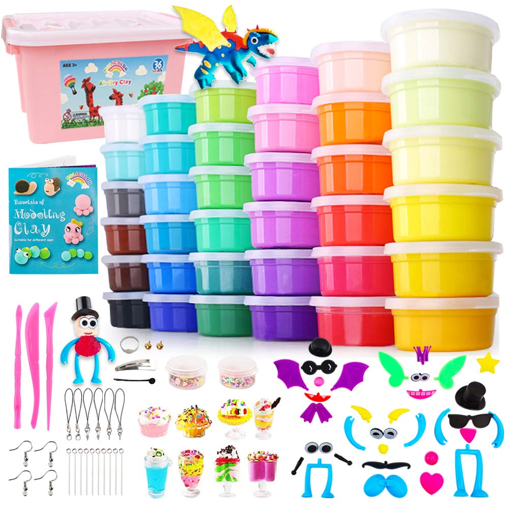 HOLICOLOR Air Dry Clay Kit 36 Colors Magic Clay Modeling Clay for