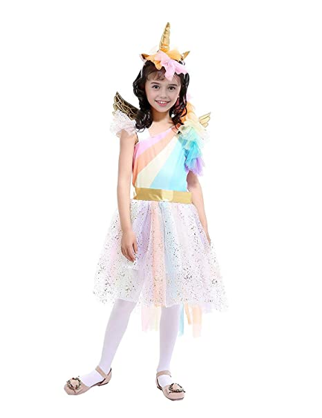 2fb40c69a2db Amazon.com  Rainbow Unicorn Costume Halloween Girls Dress Up ...