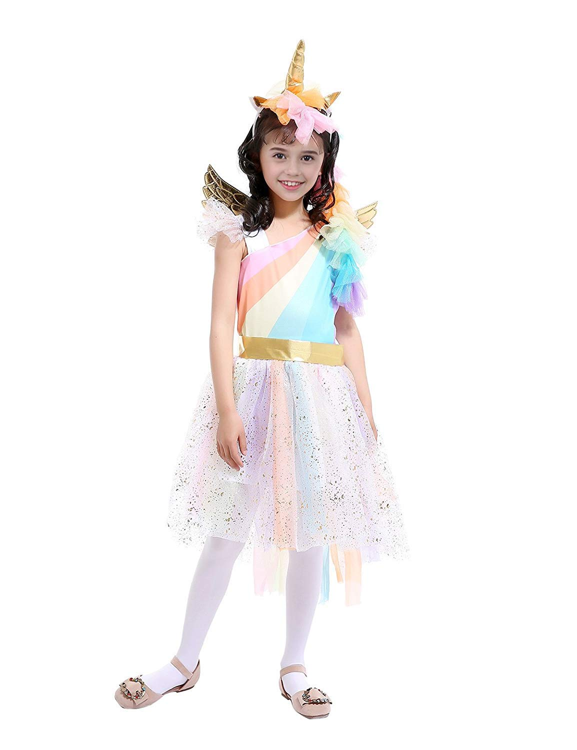 Rainbow Unicorn Costume Halloween Girls Dress Up Costumes for Party Special Occasion X-Large