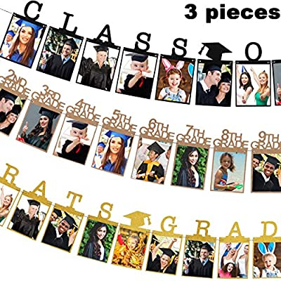 3 Pieces 2020 Graduation Photo Banner Party Decoration Supplies , Gold Black Congrats Grad Banner Class of 2020 Photo Banner and 12 Grade Photo Banner for Graduation Party Decorations, 3 Style: Toys & Games