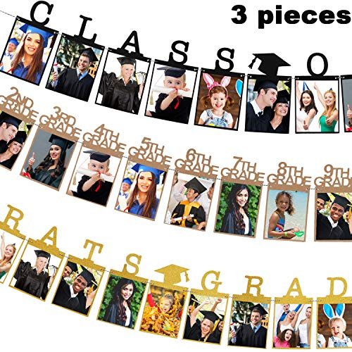 Yaomiao 3 Pieces Graduation Photo Banner Party Supplies, Golden Congrats Grad Banner Black Class of 2019 Photo Banner and 12 Grade Photo Banner for Graduation Party Decorations, 3 Styles