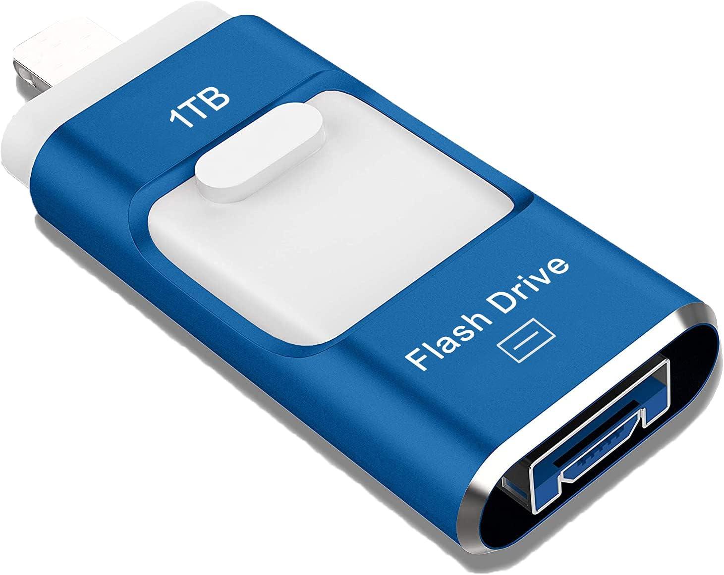 USB Flash Drive 1TB, Sttarluk Photo Stick USB 3.0 Pen Drive for iPhone/iPad External Storage Memory Stick Compatible with iPad/iPod/Mac/Android/PC (1TB Blue)