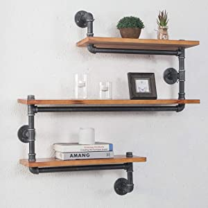 """(33"""" W,9"""" D) Industrial Pipe Shelf, 3-Shelves Wall Mounted Pipe Design Bookcases Furniture, Retro Brown"""