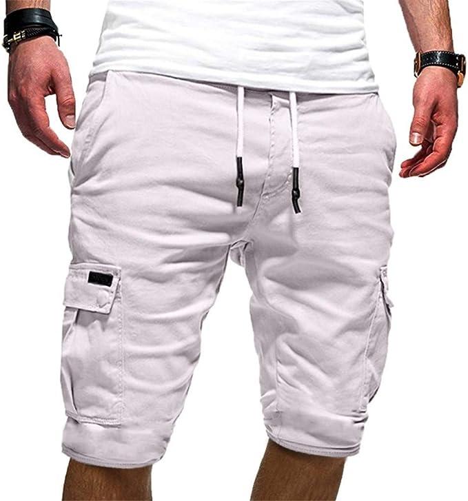 NEEKEY Mens Shorts Taclite Pro Cargo Pocket Active Breathable Casual Pants with Elastic Waist