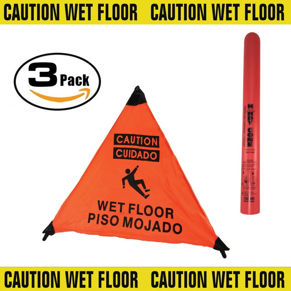 3 Sided Wet Floor Sign English/Spanish 3 Pack!! by Handy Cone