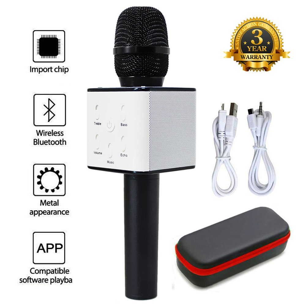 Mic 3-in-1 Bluetooth Magic Karaoke Machine Wireless Microphones Handheld Speaker For Apple iPhone Android Smartphone PC Music Playing Singing Home KTV (WS1816 White) JDSenYe Q706B