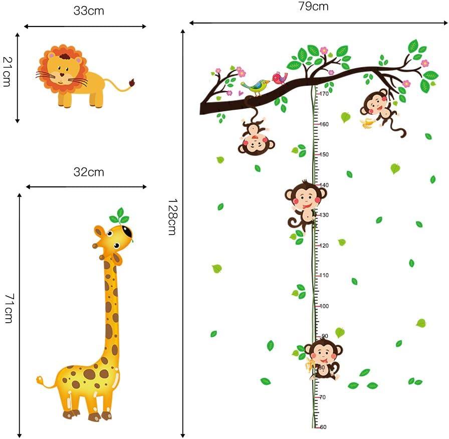 decalmile Stickers Muraux Arbre avec Animaux Singes Hauteur Croissance de Mesure Tableau Autocollant D/écoratifs Girafe Lion D/écoration Murale Chambre Enfant B/éb/é Garderie Salon