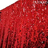DUOBAO Sequin Backdrop Curtains 2 Panels 4FTx8FT Mermaid Sequin Photo Backdrop Red to Black Reversible Sequin Photography Backdrop, Wedding Backdrop