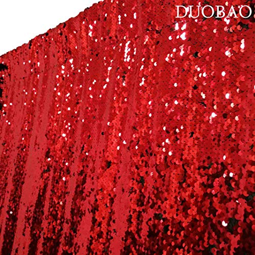 DUOBAO Sequin Backdrop Curtains 2 Panels 4FTx8FT Reversible Sequin Curtains Red to Black Mermaid Sequin Curtain for Wedding Backdrop Party Photography Background by DUOBAO (Image #3)