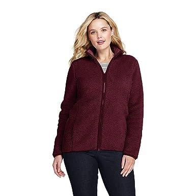 662d9a9d0ab Lands' End Women's Plus Size Cozy Sherpa Fleece Jacket at Amazon Women's  Coats Shop