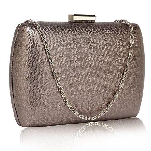 LeahWard Women's Hard Case Clutch Evening Purse Handbags For Wedding Night Out Dinner Party Grey Hard Case Evening Bag