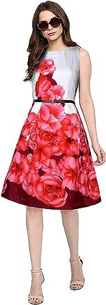 فستان بدون أكمام بطول الركبة بدون أكمام مزين بنقشة أزهار رقمية ملونة ولامعة مع حزام