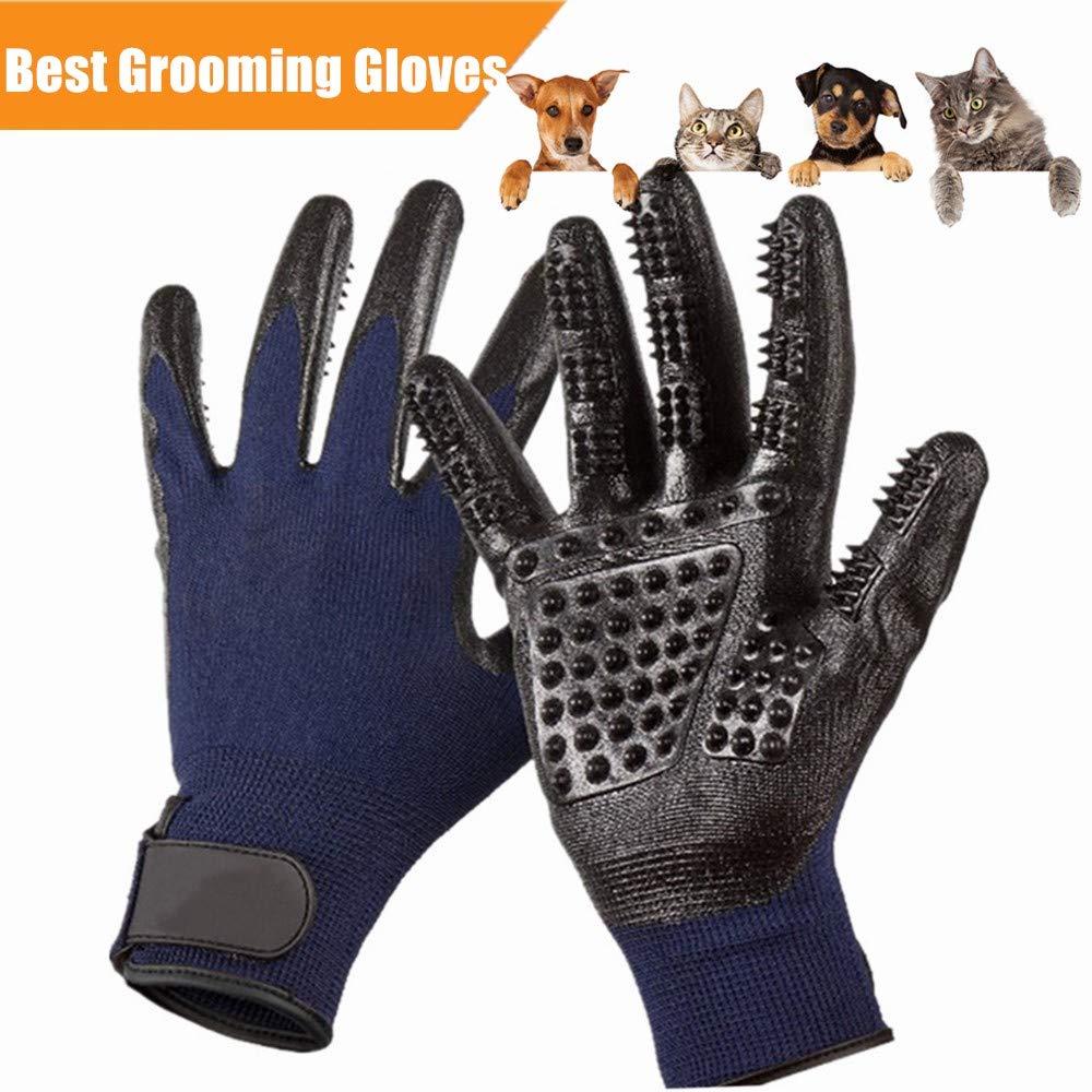 Pet Deshedding Glove|Cat Dog Grooming Gloves|Pets Hair Brush Remover Mitt|Enhanced ninja glove Five Finger Design Perfect for Cats Dogs Horses with Long & Short Fur Shedding, Bathing, Massaging.