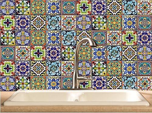 Azulejo/Wall/vinilo adhesivo para escaleras: estilo mexicano – Diseños de 44 piezas (11 x 4 juegos): Amazon.es: Hogar