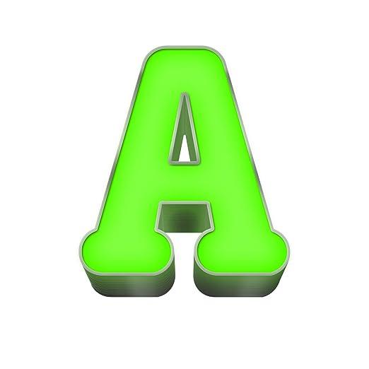Letra luminosa LED de acero y plexiglás verde de 20 cm de ...