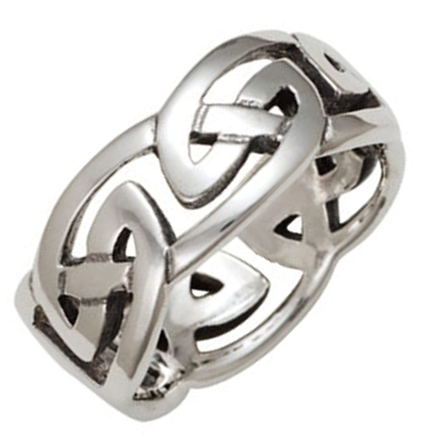 Mens 10mm Solid Silver Celtic Eternal Knot Ring Gift Boxed