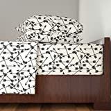 Roostery Arrow 3pc Sheet Set Arrows Scattered//Black And White Black And Cream Minimal Arrows Southwest Tribal Print by Andrea Lauren Twin Sheet Set made with