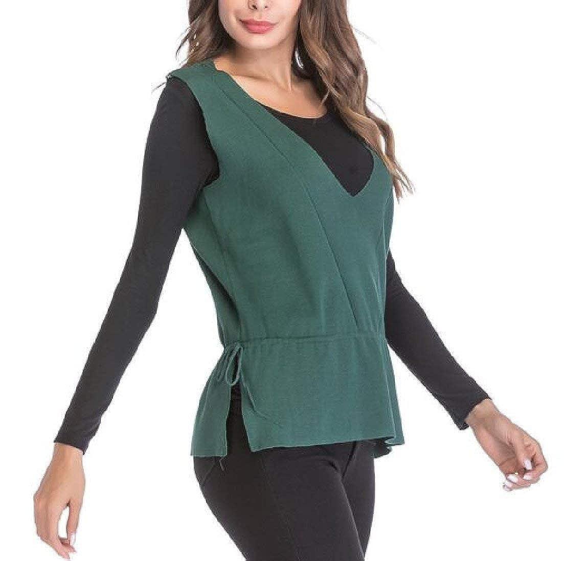 Alion Womens Fashion Sleeveless V Neck Waistcoat Knit Sweater Vest