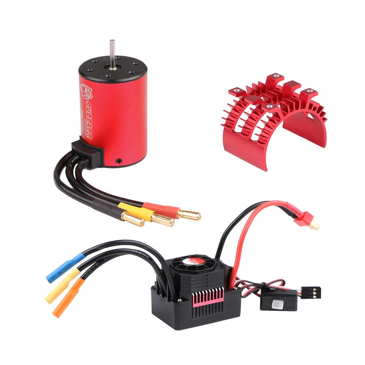 CrazeponyUK 3650 5200KV Brushless Motor with 60A ESC Electronic Speed Controller and Aluminum Heat Sink Waterproof Combo Set 3.175mm Shaft for 1 10 RC Car