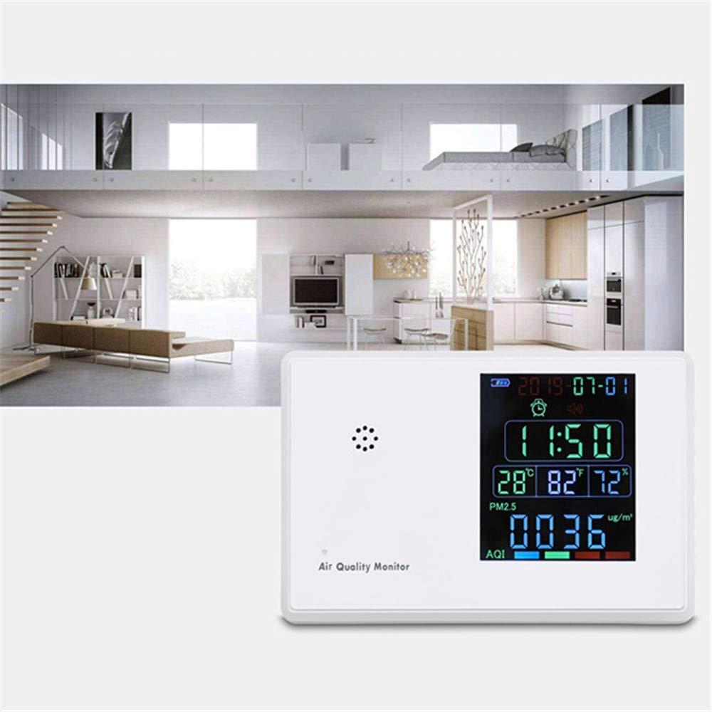 InLoveArts Monitor de Calidad del Aire PM2.5 PM10 CO2 HCHO TVOC CO2 AQI Detector Analizador de Gases con Reloj Recargable Detector de formaldehído de escritorio PM2.5 Medidor
