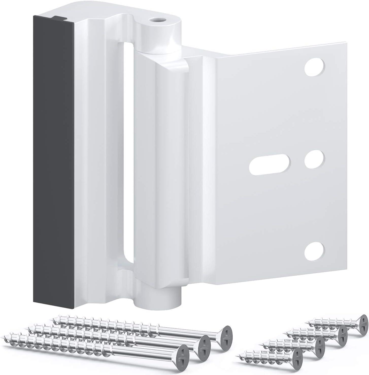 OYU Door Security Lock, Upgrade Home Security Door Lock & Reinforcement Lock with 3 inch Stop and 7 Screws, Door Lock Child Proof Security Door Stopper for Inward Swinging Door(Bright White)