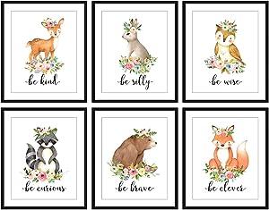 Bestbuddy Pet Set of 6 (8X10) Unframed Woodland Animals Deer Bunny Owl Raccoon Bear Fox with Flowers Crown Nursery Quotes Art Prints Set Kids Baby Girl Room Wall Decor BBPAP004