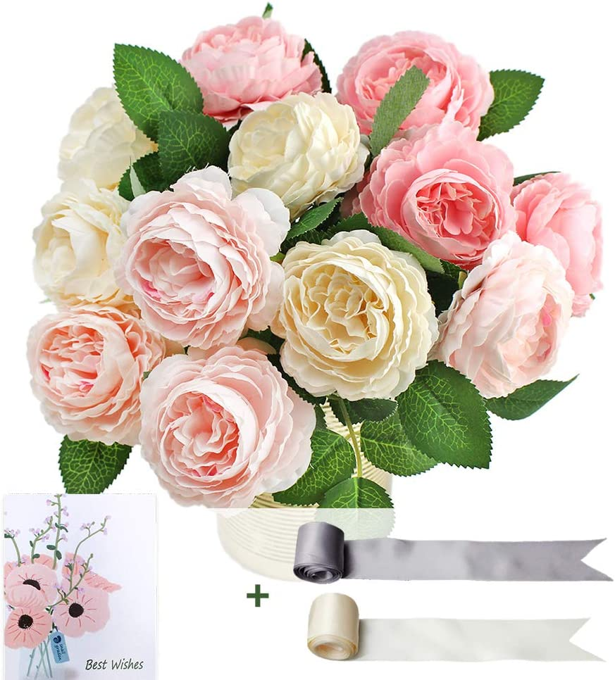 SnailGarden 12 Head Artificial Peony Flowers , 3 Colors, Silk Peony Pink with 2Pcs Satin Ribbon and 1Pcs Greeting Card, Bouquet for Wedding Party, Home Office Table Arrangements, Festival Gift