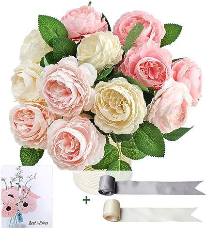 Snailgarden 12pcs Vintage Artificial Flowers Fake Peony Blossom Silk Flowers Bouquet For Bridal Wedding Home Party Festival Floral Arrangements Decoration Deep Pink Pink White Each 4pcs Amazon Co Uk Kitchen Home