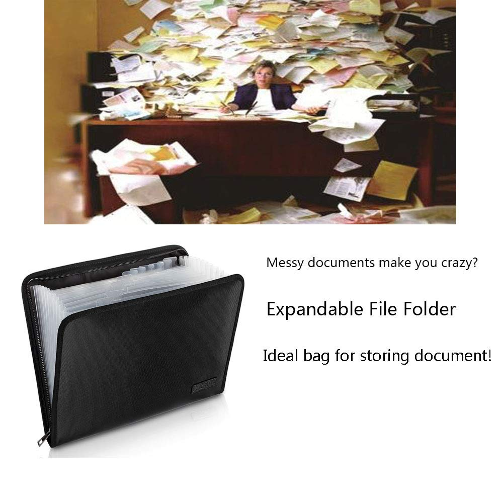 Expanding File Folder A4 Size Moistureproof Document Folder Certificate Fireproof Portable Hand-Held Accordion Document Organizer File Contract Photos Folder Bag 13 Pockets with Fire Resistant Zipper