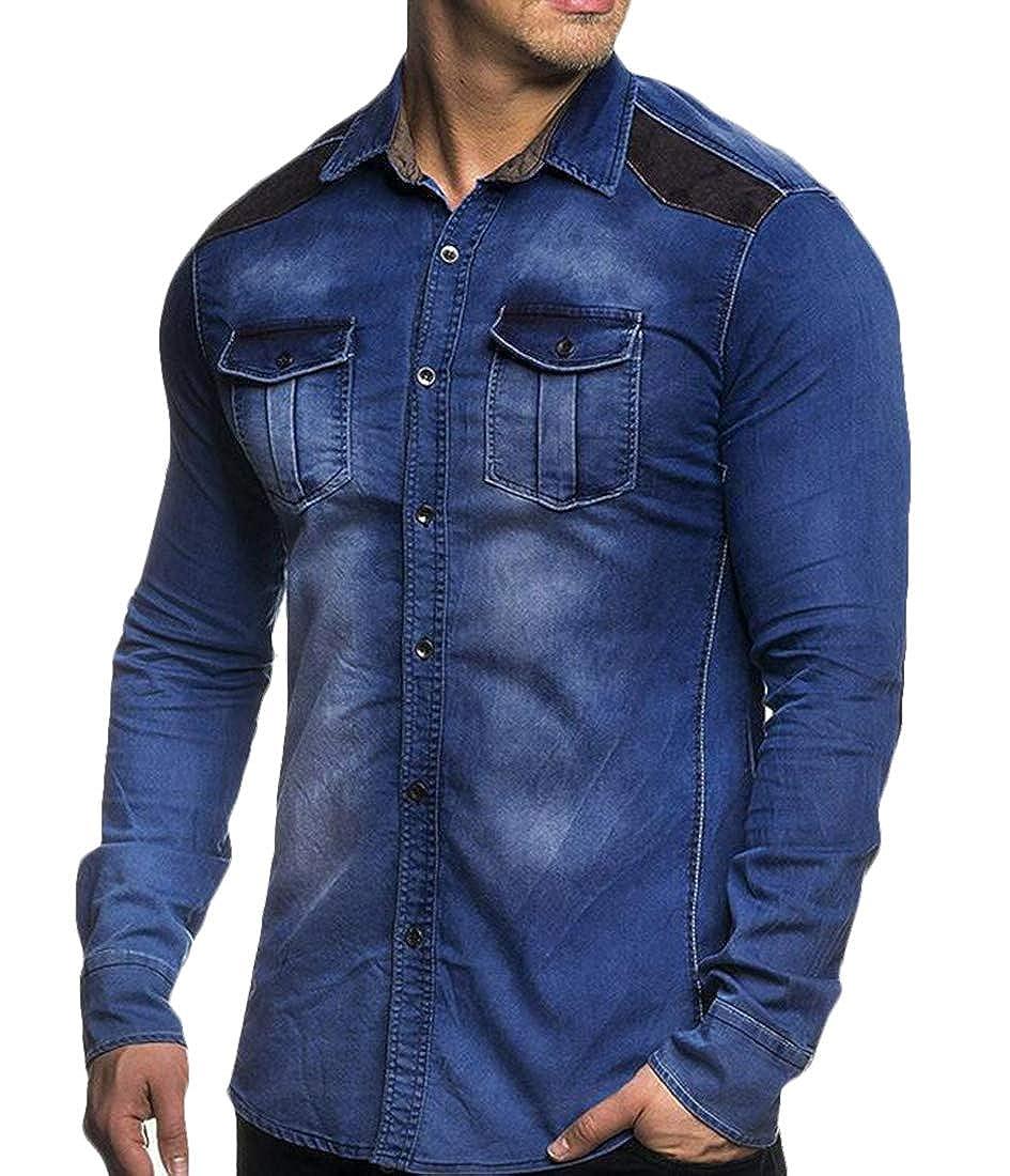GRMO Men Long Sleeve Elbow Patches Faux Suede Patchwork Button Denim Shirts